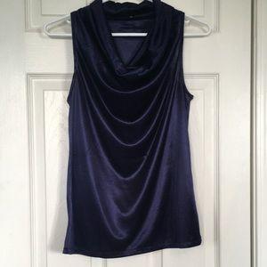 EUC Silky Navy Blue Sleeveless Cowl Neck Blouse